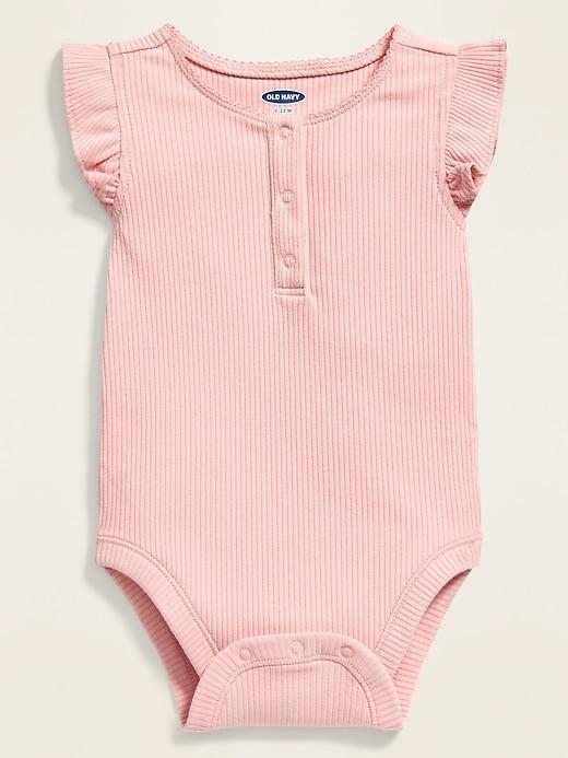 Ruffle-Trim Henley Bodysuit for Baby