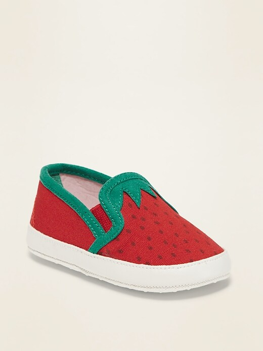 Strawberry Canvas Slip-Ons for Baby