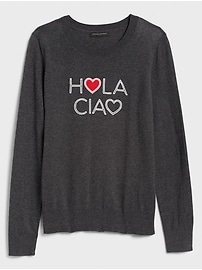 Washable Forever Hola Ciao Crew-Neck Sweater