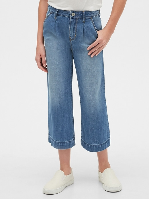Kids High Rise Pleated Crop Wide-Leg Jeans