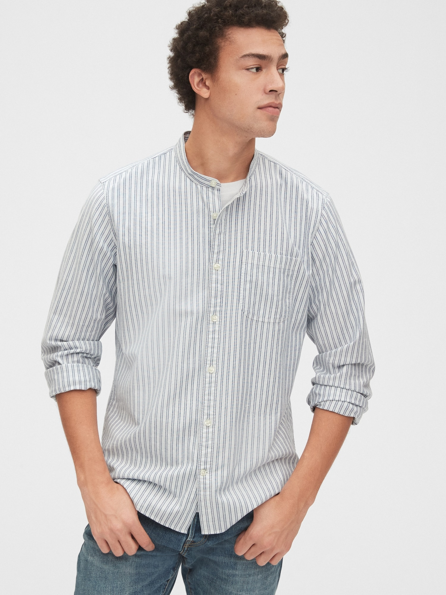 スタンダードフィット リブインストレッチ バンドカラーシャツ
