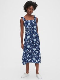 Tie-Shoulder Midi Apron Dress