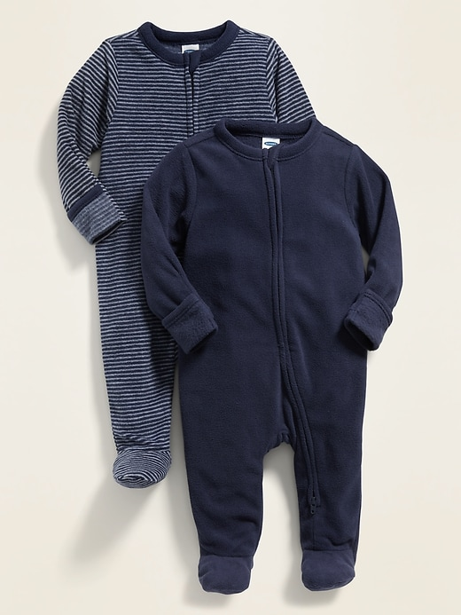 2-Pack Micro Fleece Footie Pajama One-Piece for Baby