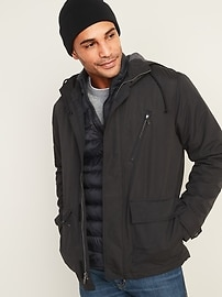 Water-Resistant Jersey-Lined Hooded Jacket for Men
