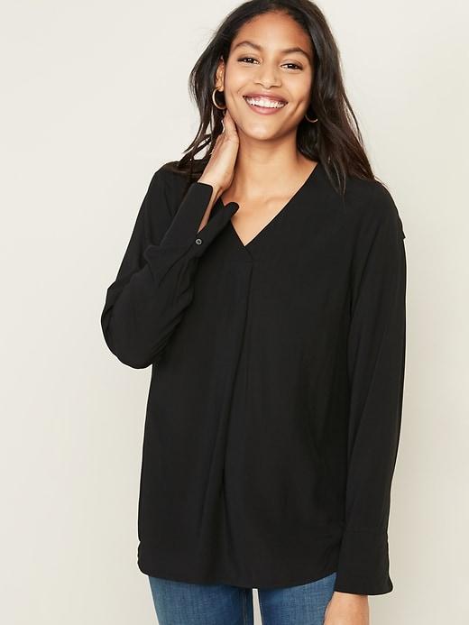 Relaxed V-Neck Tunic for Women