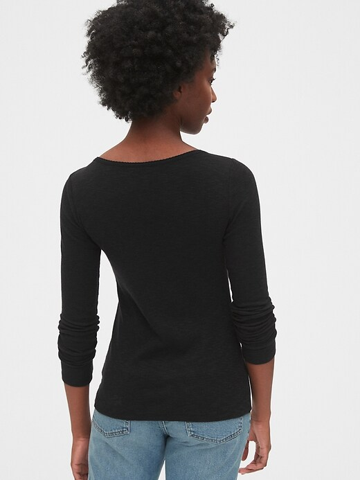 Ribbed Button-Front T-Shirt