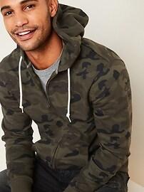 Camo-Pattern Zip Hoodie for Men