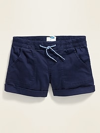 Cuffed Twill Pull-On Shorts for Girls