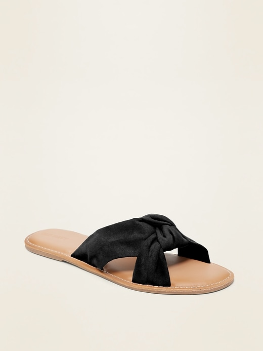 Knotted-Twist Slide Sandals for Women