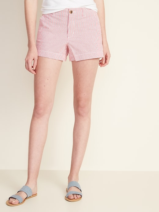 Mid-Rise Everyday Seersucker Shorts for Women - 3 1/2-inch inseam