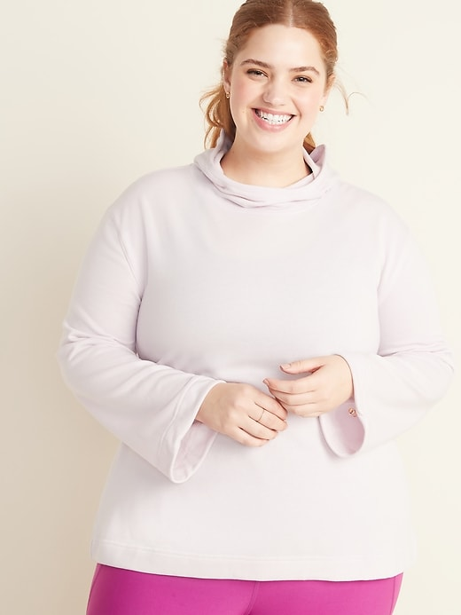 Plus-Size Pleated-Back French-Terry Swing Hoodie
