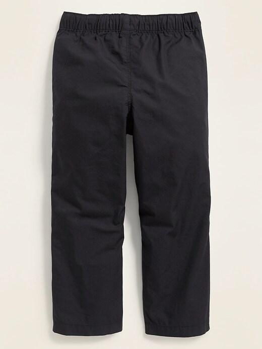 Functional-Drawstring Pull-On Poplin Pants for Toddler Boys