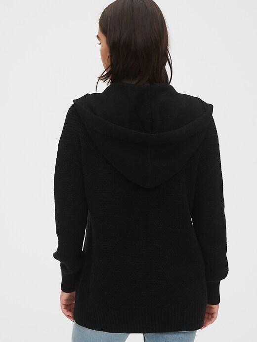 Textured Open-Front Hoodie