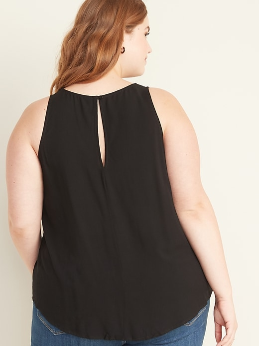 High-Neck Sleeveless Plus-Size Top