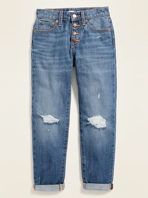 High-Waisted Built-In Tough Distressed Boyfriend Button-Fly Jeans for Girls