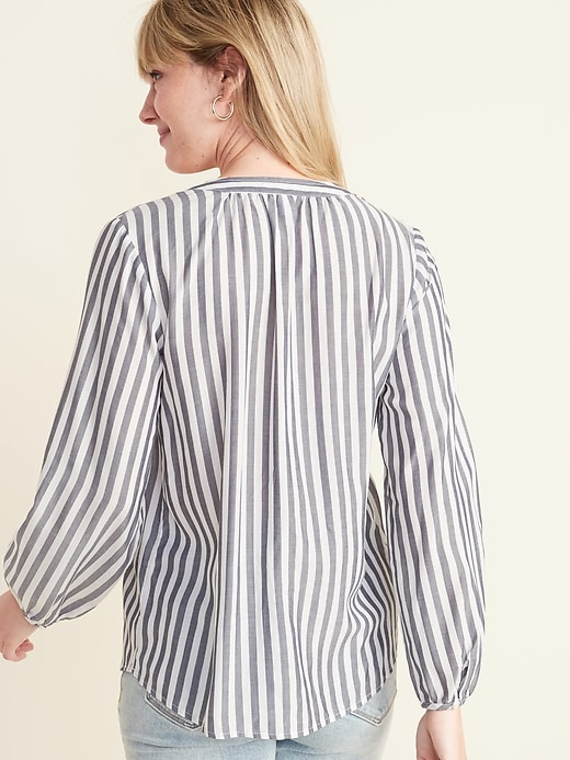 Striped Split-Neck Pullover Top for Women