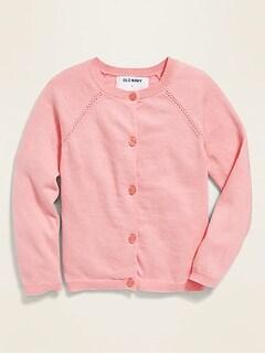 Loveble Little Girls Cardigan Long Sleeve Coat Spring Autumn Round Neck Jacket