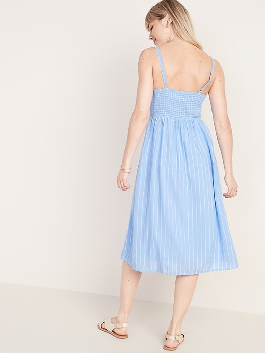 Fit & Flare Striped Cami Midi Dress for Women