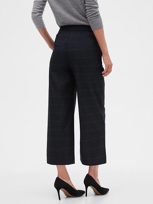 Navy Windowpane Wide-Leg Crop Pant