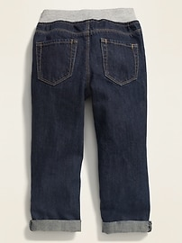 Relaxed Jersey-Waist Pull-On Jeans for Toddler Boys