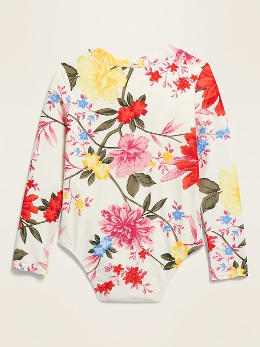Printed Zip-Front Rashguard Swimsuit for Toddler Girls