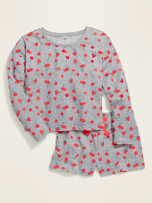 Printed French Terry Pajama Set for Girls