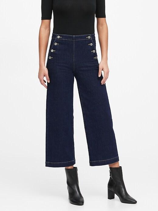 Petite High-Rise Wide-Leg Cropped Sailor Jean