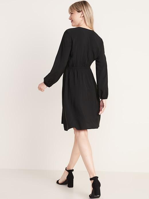 Waist-Defined Wrap-Front Dress for Women