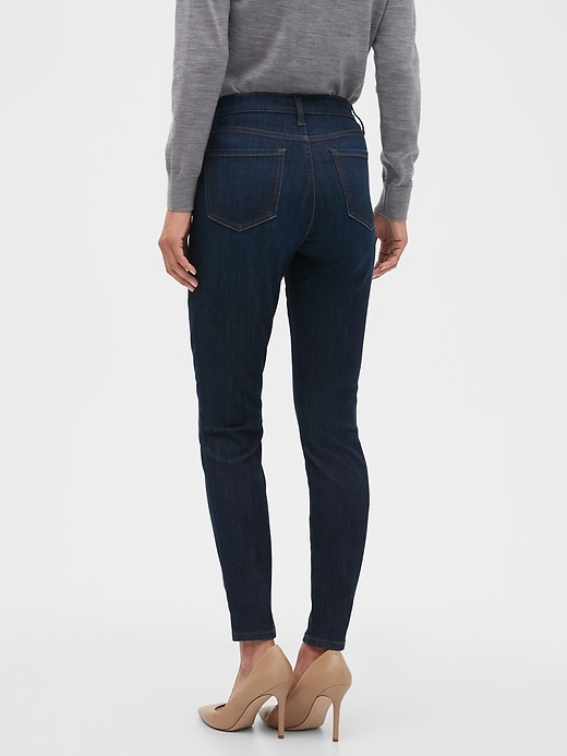High-Rise Dark Wash Button-Fly Sculpt Skinny Jean