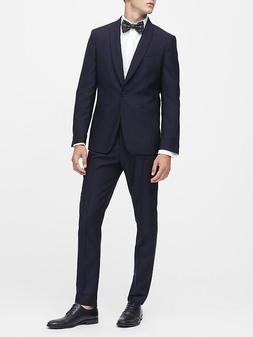 Slim Navy Italian Wool Tuxedo Jacket