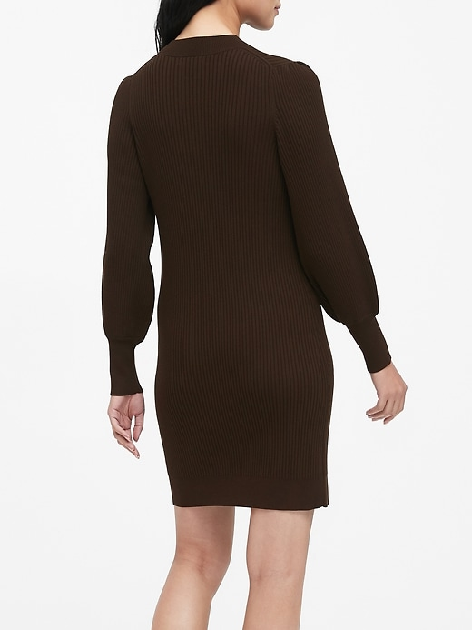 Puff-Sleeve Sweater Dress