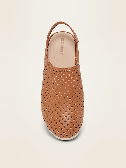 Perforated Faux-Leather Clog Shoes for Girls