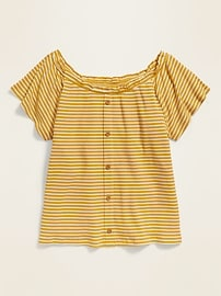 Striped Rib-Knit Faux Button-Front Top for Girls