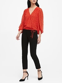 Petite Puff-Sleeve Wrap Top