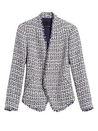 Petite Collarless Metallic Tweed Blazer