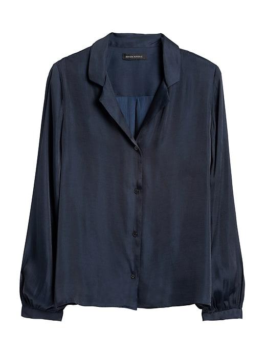 Soft Satin Camp-Collar Blouse