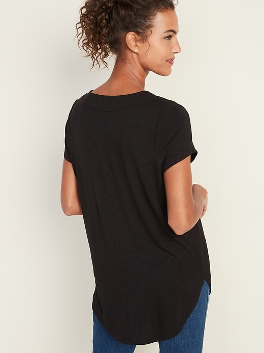 Loose Luxe V-Neck Tunic Tee for Women