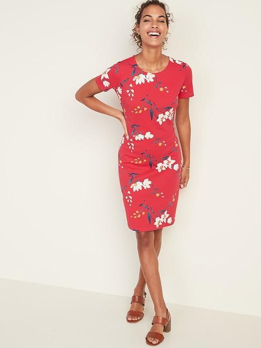 Floral-Print Ponte-Knit Sheath Dress for Women