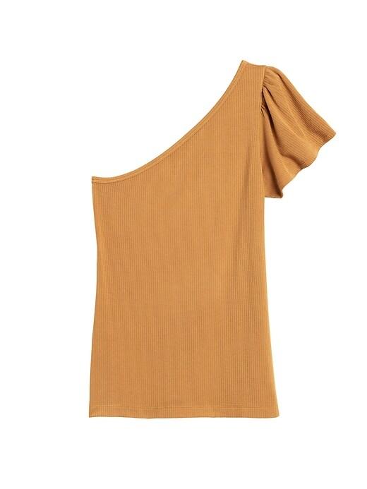 Haut à une épaule en tricot côtelé, Petite