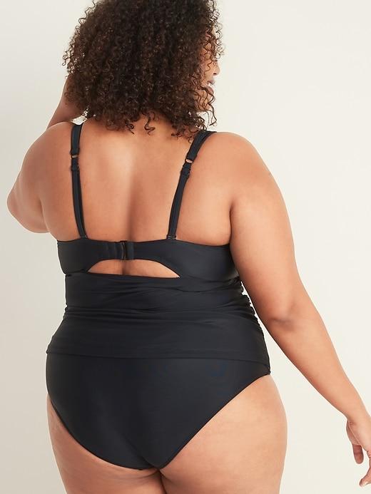 Twist-Front Underwire Plus-Size Tankini Swim Top