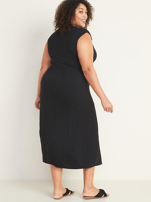 Waist-Defined Plus-Size Wrap-Front Maxi Dress