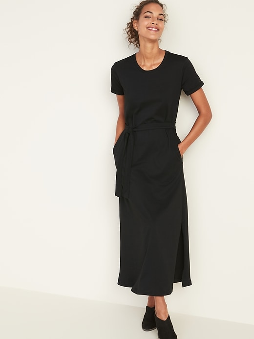 Tie-Belt Maxi Tee Dress for Women