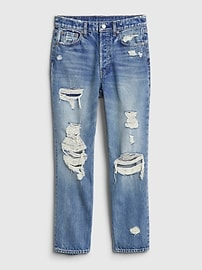High Rise Destructed Cheeky Straight Jeans