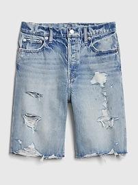 High Rise Destructed Denim Bermuda Shorts