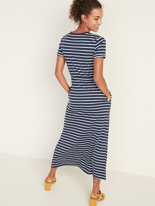Striped Tie-Belt Shift Dress for Women