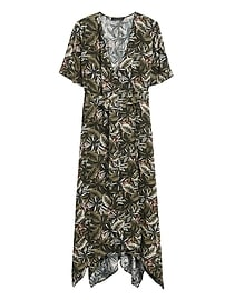 Tiger Handkerchief-Hem Wrap Dress