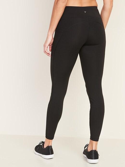 Mid-Rise Elevate Side-Pocket Mesh-Trim 7/8-Length Leggings for Women