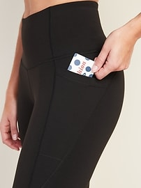High-Waisted Elevate Side-Pocket Mesh-Trim Compression Crops for Women