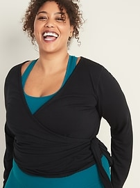 Wrap-Front Plus-Size French-Terry Performance Top