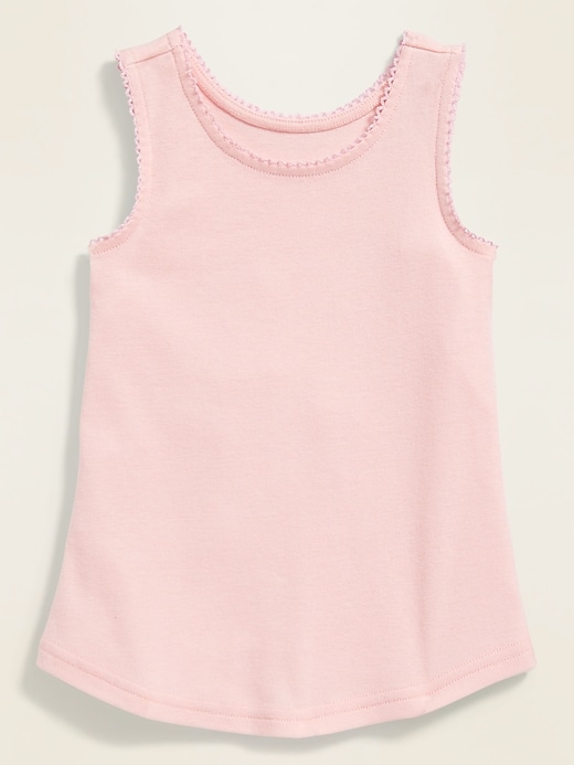 Picot-Trim Tank Top for Toddler Girls